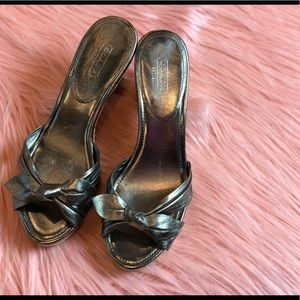 COACH Karen Metallic Pewter Cork Heels Size 8 1/2